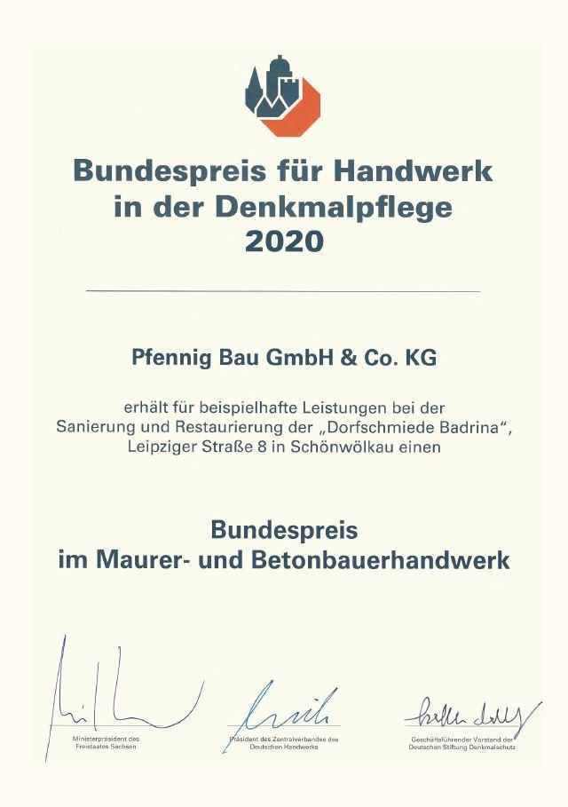 Bundespreis für Handwerk in der Denkkmalpflege